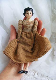Vintage Style Miniature Handmade Doll by Lisa Scherer. www.workingforcarrots.com