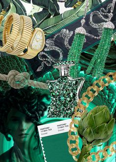 Green & Gold - fashion accessories moodboard #inspiration