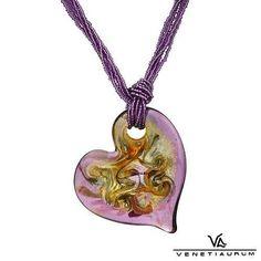 """47~VENETIAURUM Purple Heart Necklace 24k Murano Glass, 925 Sterling~18"""" Lng! #Venetiaurum #Pendant"""