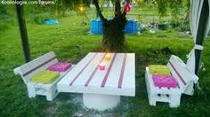Tables Pallet Pallets Garden set / Salon de jardin en palettes - My garden set: Table made with a long pallet and a barrel, benches made with recycled EURO pallets. Wood Pallet Tables, Pallet Lounge, Pallet Crates, Pallet Art, Diy Pallet Projects, Pallet Ideas, Pallet Patio, Pallet Benches, Pallet Wood
