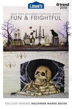 Lowe's 2019 Halloween haul is in stock. Get the best Halloween fireplace mantel decor and impress your guests. Tap the Pin to start some spooky shopping. Halloween 2019, Holidays Halloween, Spooky Halloween, Halloween Crafts, Happy Halloween, Halloween Decorations, Halloween Party, Fish Hooks For Hats, Halloween Fireplace