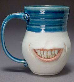 Creepy Dental Tooth Mug 1 Ceramic Mugs, Ceramic Art, Biscuit, Dental Art, Dental Life, Dental Humor, Dental Hygiene, Incredible Gifts, Teeth Care
