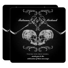 "Shop ""Skull in Love"" Vintage Skeletons Black Wedding Invitation created by printabledigidesigns. Horror Wedding, Edgy Wedding, Pagan Wedding, Viking Wedding, Skull Wedding, Classy Halloween Wedding, Gangster Wedding, Black Red Wedding, Halloween Weddings"