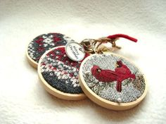 Rustic Christmas Hoop Ornaments...DIY hack- buy Christmas sweater at Goodwill and cut cute pattern out for small hoop ornament