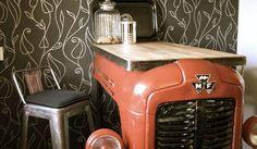 Upcycling: barbord av traktorfront. Bloggen Re-creating.se (återbruk)