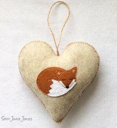 Fox Heart Decoration Woodland Fox Ornament Door by SewJuneJones