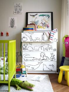 hand-drawn dresser for children's  rooms