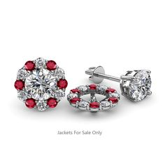 Red Garnet and Diamond Womens Halo Ear Stud Jacket ctw White Gold Prongs Set Studded Jacket, Gold Jacket, Jacket Earrings, Diamond Earrings, Mother Of The Bride Accessories, Diamond Earring Jackets, Ear Studs, Red Garnet, Halo Diamond