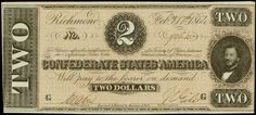 Confederate States Currency $2 Bill from Richmond, Virginia, February 17th 1864 T-70 Civil War Note Obverse: At the right side is Judah P. Benjamin, who served as Secretary of State and Secretary of War for the Confederacy. A well inked pink underprint is found on this crisp late issue Deuce.