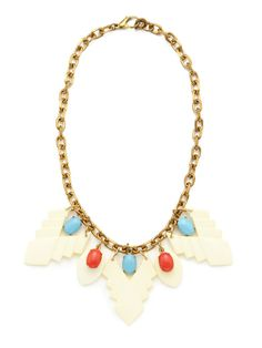 White Resin & Multicolor Czech Stone Drop Necklace by Lulu Frost on Gilt.com