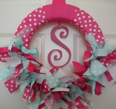 new baby ribbon wreath in hot pinks and aqua for hospital door, nursery, baby shower. But with Damask and a B.