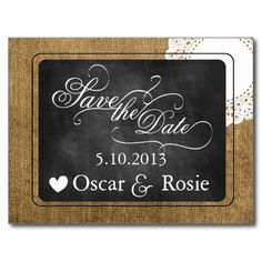 Burlap, chalkboard, and Doily Save the Date Postcards