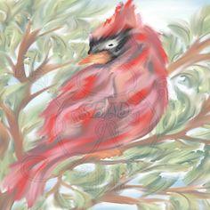Red Cardinal Watercolor Digital Paper Hand by SnugglebugArtDesign