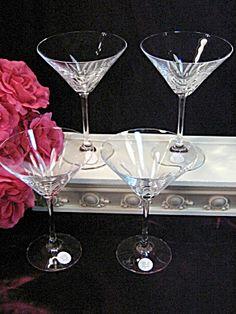 Vintage Princess House Crystal Vignette Martini Glasses Set of Four $99.99