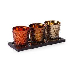 Pfaltzgraff 15-inch 3-light Warm Mercury Tealight Holder | Overstock.com Shopping - The Best Deals on Candles & Holders