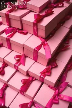 ...pretty pink packages tied up with ribbon...