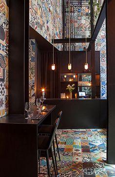 Colourful, handcrafted Mexican cement tiles. Llama restaurant: Sudamericano inspiration in Copenhagen
