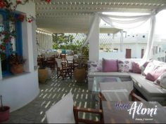 Breakfast and Dining area of Aloni Paros hotel Suite Room Hotel, Hotel Suites, Poros Greece, Paros Island, Dining Area, Patio, Breakfast, Outdoor Decor, Flats