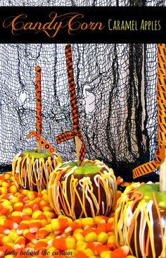 Lady Behind The Curtain - Candy Corn Caramel Apples