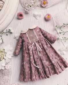 Stunning Blythe Dresses Created In The Atelier De L'Ame Babykleidung Blythe - Diy Crafts Kids Frocks, Frocks For Girls, Little Girl Dresses, Winter Dresses For Girls, Vintage Baby Dresses, Frock Design, Baby Dress Design, Baby Girl Fashion, Kids Fashion