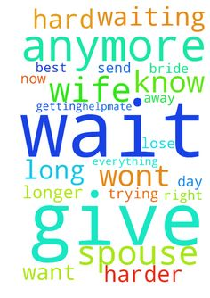 Depressed -  Father. Your word says it is not good for man to be alone. Father you made for Adam a helpmate. Father I ask you for a helpmate, and soon, because Father I am lonely. Father I am doing my very best to remain a vergin. Most men and women dont wait for their spouse anymore. I am trying to do the right thing, but Rather its getting harder for me to restrain myself. I dont know how much longer I can wait, and I feel like Im losing this fight for purity. I want so badly to be…