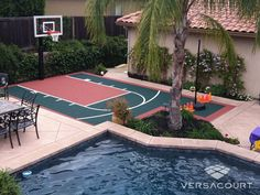 Small Backyard Basketball Court Ideas Stunning Mesmerizing Gallery Best Decorating 4 with small backyard basketball court ideas. Mini Basketball, Outdoor Basketball Court, Backyard Pool Designs, Backyard Patio, Backyard Landscaping, Outdoor Gym, Outdoor Living, Outdoor Decor, Backyard Sports