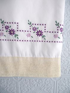 ONE PAIR of All Hand Embroidered pillowcases with vintage lace-Just in time for Spring....    Stunning purples and greens! Measures 20 inches wide
