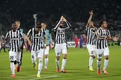 Players of Juventus Fc celebrates the victory after during the UEFA Europa League Round of 16 second leg match between ACF Fiorentina and Ju...