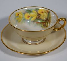 Vintage Cups, Vintage Tea, Teapots And Cups, Teacups, Painted Cups, Hand Painted, English Tea Cups, Tea And Crumpets, Yellow Orchid