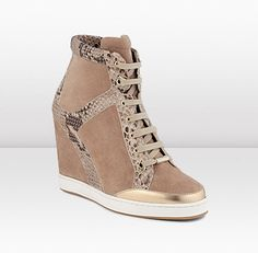 Jimmy Choo Panama - $850.00  Desert Snake Print Leather Wedge High Top Sneakers