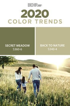 peinture salon tendance For an inspired combination of monochromatic green hues, turn to Secret Meadow and Back to Nature from the new BEHR 2020 Color Trends Palette. These natu Behr Exterior Paint, Exterior Paint Colors For House, Paint Colors For Living Room, Paint Colors For Home, Behr Paint Colors, Green Paint Colors, Paint Color Palettes, Natural Paint Colors, Indoor Paint Colors