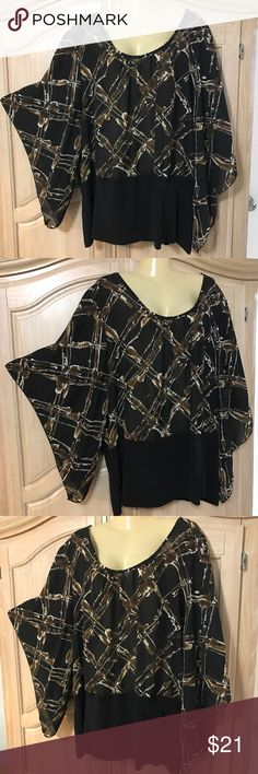 Designer Ashley Stewart elegant blouse Blouse with long sleeves and low round neckline size 22 80% polyester. 20% spandex Ashley Stewart Tops Blouses
