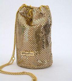 Metallic Evening Handbags | Gold Metallic Bucket Bag designed by Whiting & Davis