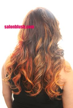 Gorgeous yellow copper orange ombre hair by www.salonblush.com in philadelphia long hair