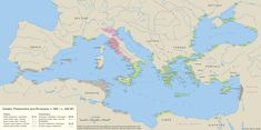 Greeks, Phoenicians and Etruscans settlements in Mediterranean Sea (900-500 BC)