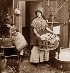 Mother and Daughter doing laundry 1870.