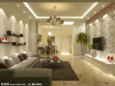 Pin By Nami On Wall Canvas Living Room Decor Furniture House Ceiling Design, Ceiling Design Living Room, Bedroom False Ceiling Design, House Design, Living Room Decor Furniture, Living Room Interior, Home Living Room, Living Room Wall Wallpaper, False Ceiling Living Room