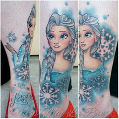 Incredible Frozen Elsa tattoo by the amazing Miss Mae La Roux. Check out her page for some of the best Disney tattoos ever.