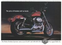 Harley-Davidson 883 Sportster 1998 Ad. Starts at just $5,245. The price of freedom ain't so harsh. The Legend Rolls On.
