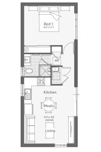 Perth's best 2 and 3 bedroom granny flat designs. Compare granny flat floor plans built to the same high level of quality as a Dale Alcock home. Studio Apartment Floor Plans, Studio Floor Plans, Studio Apartment Layout, Small House Floor Plans, Small Apartment Plans, Tiny House Layout, Tiny House Cabin, Small House Design, House Layouts