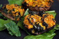 Portobello Mushrooms With Tuscan Kale and Sweet Potato.