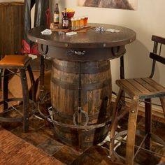 Outlaw Barrel Pub Table  | Western Pub Table