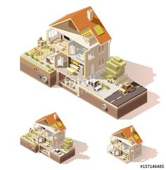 Вектор: Vector isometric low poly house cross-section