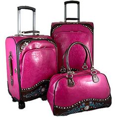"""Western two-tone 3-piece luggage set w/ floral embroidery"" Shop at Bonanza.com>>>  TennesseeBagLady"