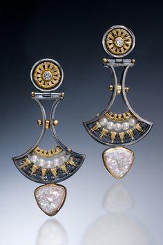 Drop Earrings by Sally Craig (Gold, Silver & Stone Earrings) | Artful Home