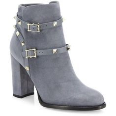 Valentino Rockstud Suede Block-Heel Booties (€1.295) ❤ liked on Polyvore featuring shoes, boots, ankle booties, booties, apparel & accessories, strappy booties, pull on boots, short boots, slip on ankle boots and ankle boots