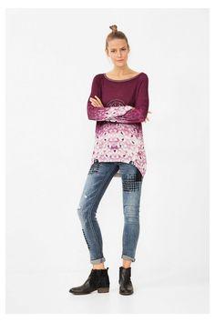 Paarse trui met dierenprint - Manuela | Desigual.com 5051