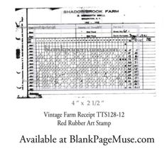 """Photo by Blank Page Muse on August 11, 2020. Image may contain: text that says 'SHADOWEROOK FARM ממרמם 4""""x21/2"""" Vintage Farm Receipt TTS128-12 Red Rubber Art Stamp Available at BlankPageMuse.com'"""