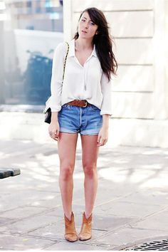 white button up.  jean shorts. brown ankle boots.  so simple. so classic. so cute.