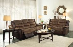 BunnellCollectionLove Seat Fitting in with your transitional home is the Bunnell Collection. Offered in a brown textured plush microfiber with dark brown bi-cast vinyl, this comfortable reclining seating group extends with an easy release mechanism for your ultimate convenience and relaxation. Finish:Textured Plush Microfiber